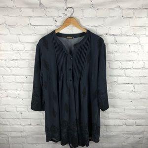 Reborn 3/4 Sleeve Black Top sz 3X